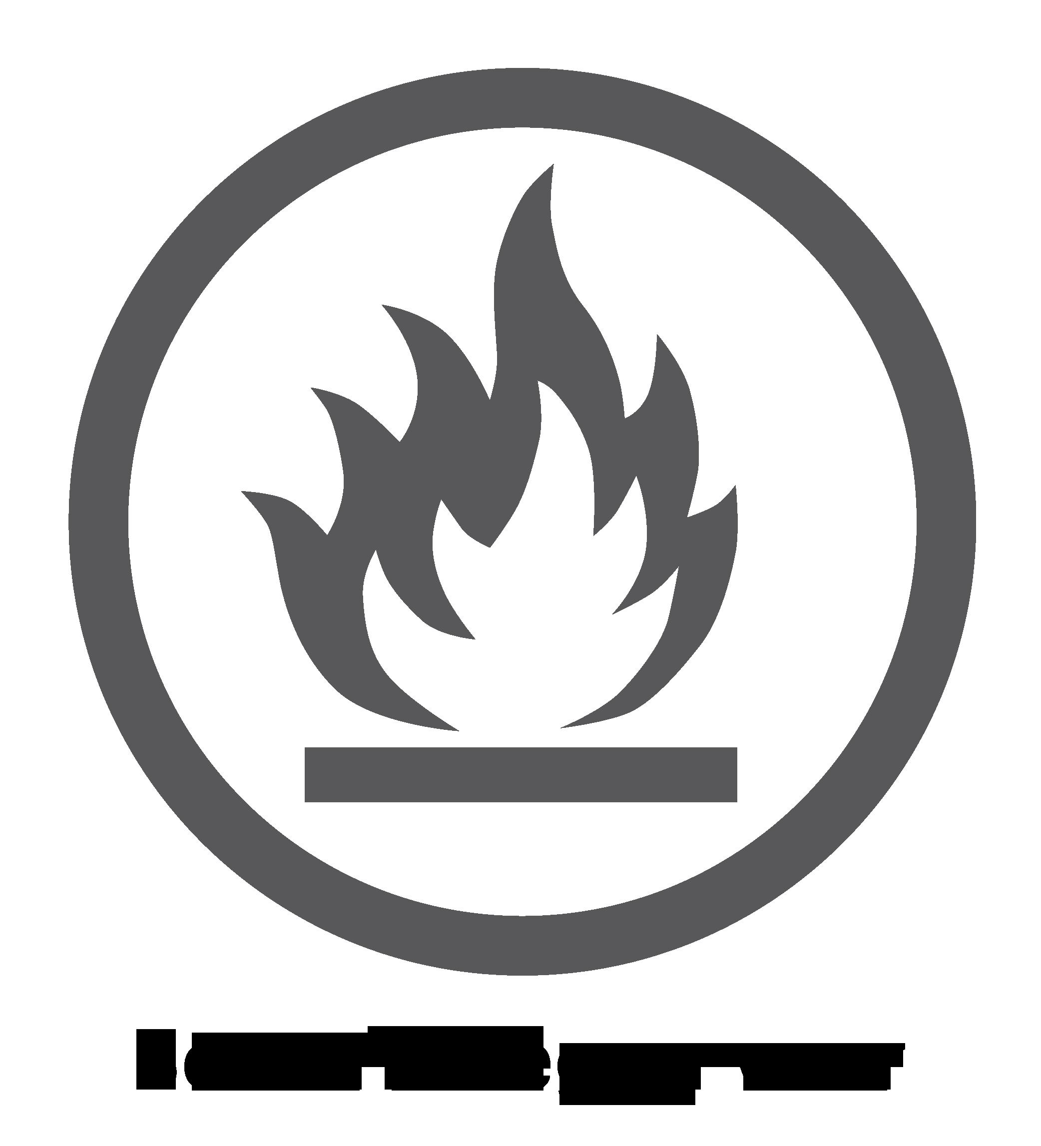 Logo van brandwerend oppervlak